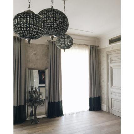 Льняные шторы с декоративной окантовкой из бархата